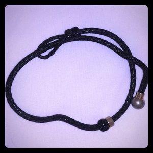 Del Toro Blue Nappa Leather Intrecciato Bracelet